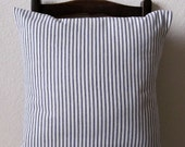Decorative Pillow Cover Blue Stripe Ticking Nautical Cotton Slip Cover 16 X 16 Set of 2