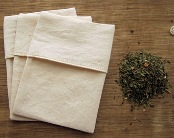Reusable Organic Tea Bags  Eco Friendly - All Organic Cotton Fabric and Thread - 3X4 Set of 20