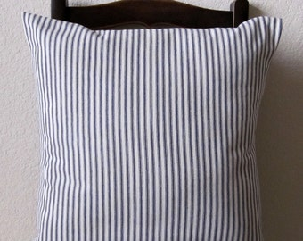 Decorative 18 X 18 Pillow Cover Blue Stripe Ticking Nautical Cotton Slip Cover