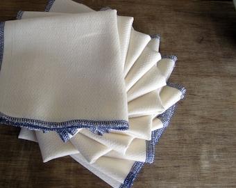Reusable Organic Un paper Eco Friendly Towels with Purple Edges -- Birdseye Unbleached Cotton  -- Set of 18