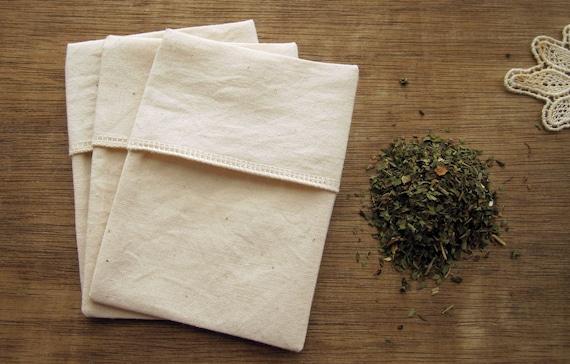 Reusable Organic Tea Bags  Eco Friendly - All Organic Cotton Fabric and Thread - 3X4 Set of 20