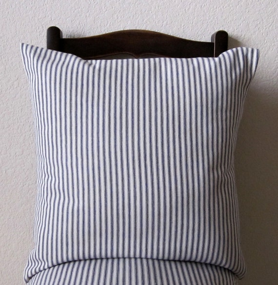 20 By 20 Decorative Pillow Covers : Decorative 20 x 20 Pillow Cover Blue Stripe Ticking Nautical