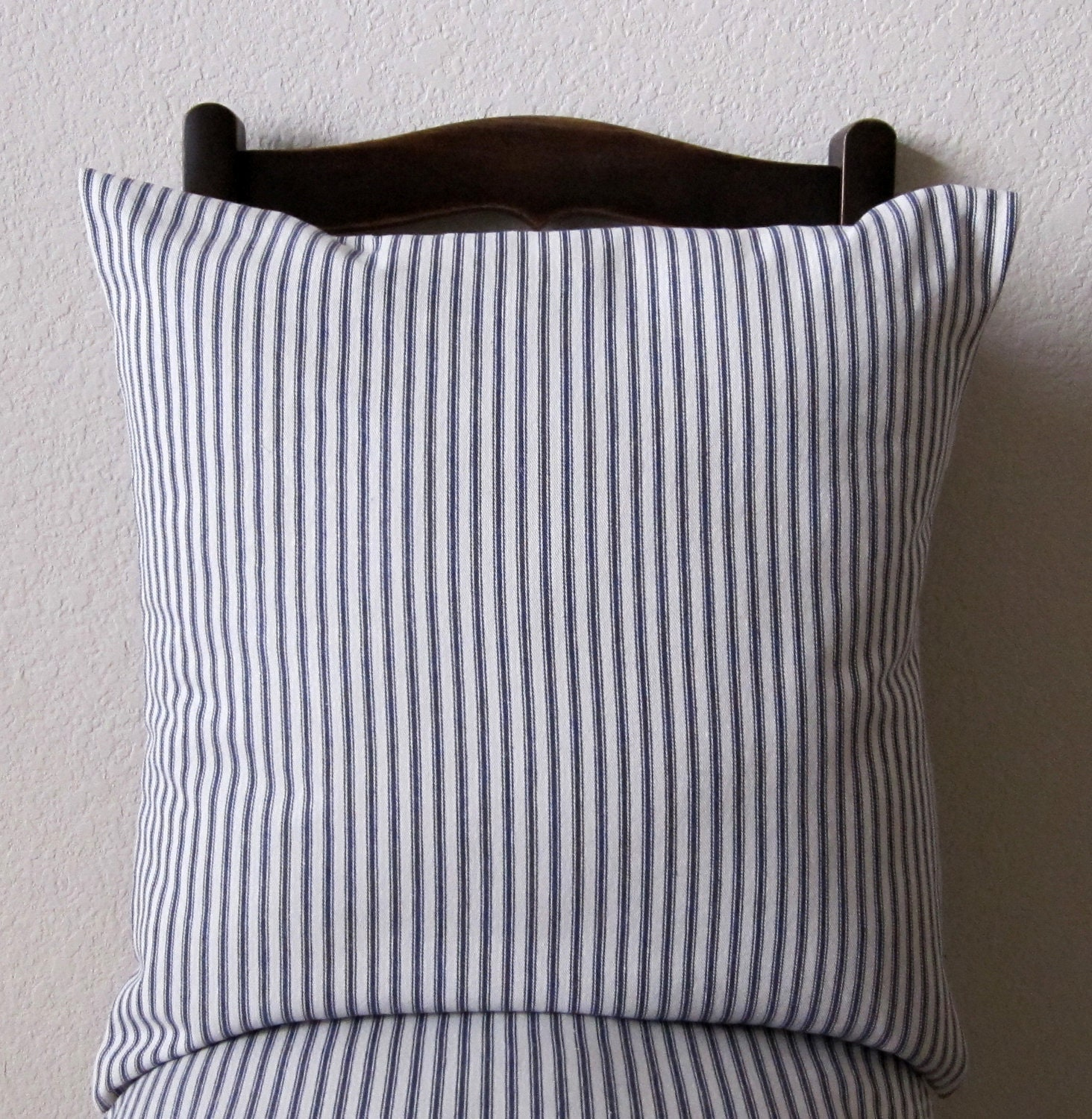 Blue Striped Throw Pillow Cover : Decorative Pillow Cover Blue Stripe Ticking Nautical Cotton