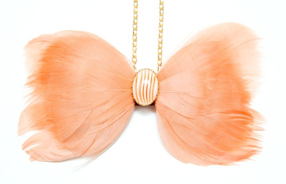 Peach Feather Bow Tie Necklace w/ Upcycled Leather and Vintage Cabochon