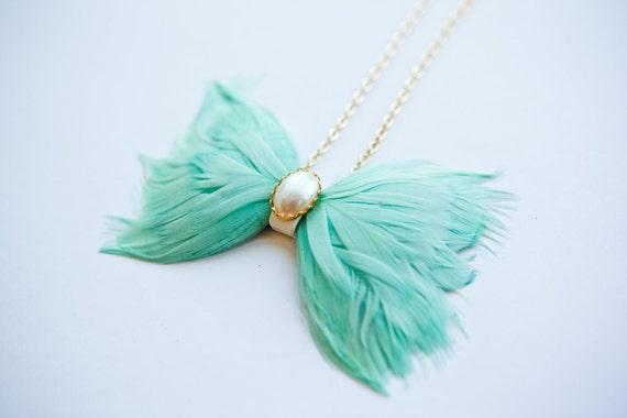 Mint Light Teal Feather Bow Tie Necklace w/ Upcycled Leather and Vintage Cabochon