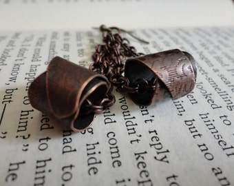 Antiqued Bronze Chain with Rolled Textured  Metal Earrings