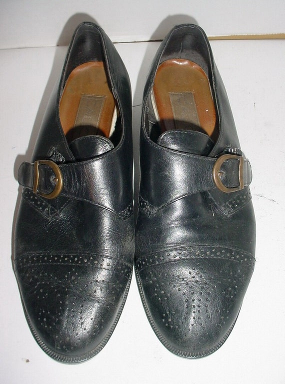 Vintage Black Leather Brogue Perforated Spectator Toe Strap Over Loafer Shoes 6  M