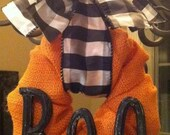 "Orange Burlap Halloween ""BOO"" Wreath"