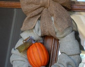 Fall Burlap Wreath with Pumpkin