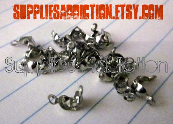 200 Metal Findings - Crimps 7X4mm Silver Tone - Bead Tips