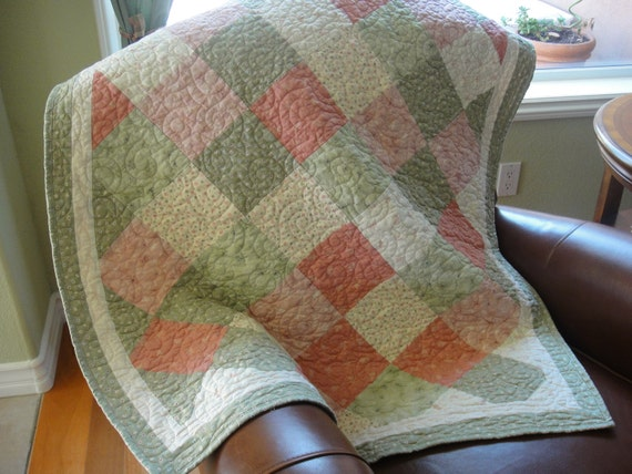 Quilt Small Lap or Crib for Baby Pinks and Greens Handmade