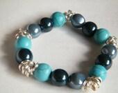 Mixed Blue beaded Stretch on Bracelet