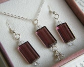 Amethyst glass Bead pendant and SP earring set