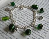 Silver Plated Beaded Charm Bracelet