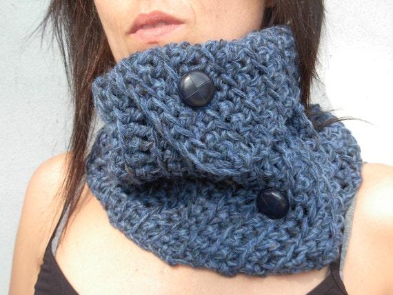 Handmade Chunky Crochet Blue Neckwarmer with leather buttons