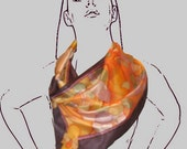 Hand Painted Silk Statement Scarf Ode To Alphonse Mucha