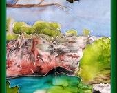 Silk Painting the Dead Sea on Lokrum, an Island nearby Dubrovnik