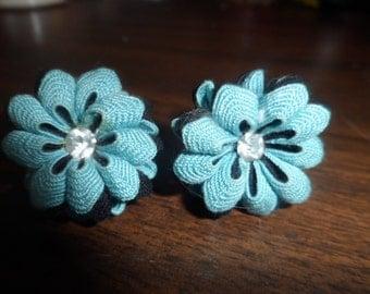 Vintage Flower Cloth Ribbon Screwback Earrings