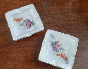 Pair of Vintage Porcelain Flower Ash Trays