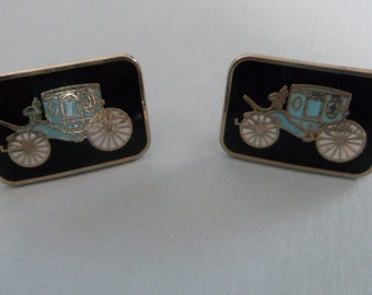 Vintage Cinderella Carriage Aqua Blue and Black Cufflinks
