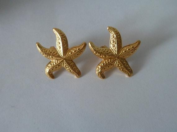 Vintage 1980s Starfish Goldtone Pierced Earrings
