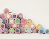 Rainbow photography - Draw me a Rainbow - Lovely colored pencils colour nursery decor bright drawing creation Fine art photography  8x12