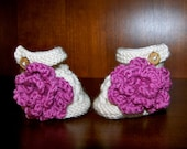 Knit Baby Mary Janes With Large Crochet Flower