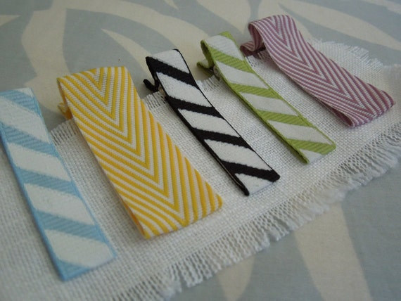 chic ribbon hair clips : stripes