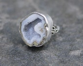 Blue gray Geode Ring / Druzy Ring / Druzy sterling silver ring / Blue Gray druzy ring