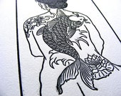Tattooed Woman Nude Koi Cherry Blossom Lily Wave Woodblock Print - Original, Handcarved & Printed, Limited Edition