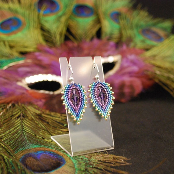 Items Similar To Beaded Quot Peacock Feather Quot Earrings On Etsy