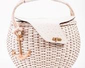 VINTAGE Tano Cream Wicker Leather Gold Anchor Spring/Summer Picnic Basket Bag