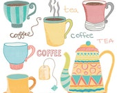 Coffee & Tea Doodles Clip Art - INSTANT DOWNLOAD - For Personal and Commercial Use - Digital Designs - WisteriaDesignStudio