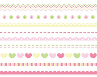 Baby Girl Borders - Clip Art for Personal & Commercial Use - INSTANT DOWNLOAD - Digital Designs