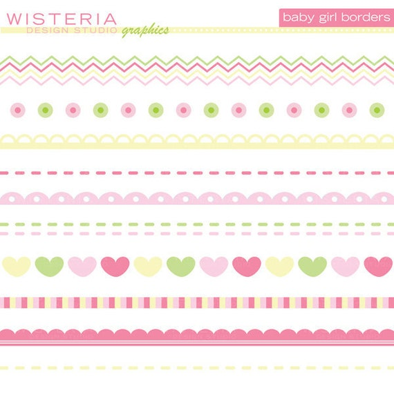 Baby Girl Borders - Clip Art for Personal  amp  Commercial Use - INSTANT    Baby Girl Borders