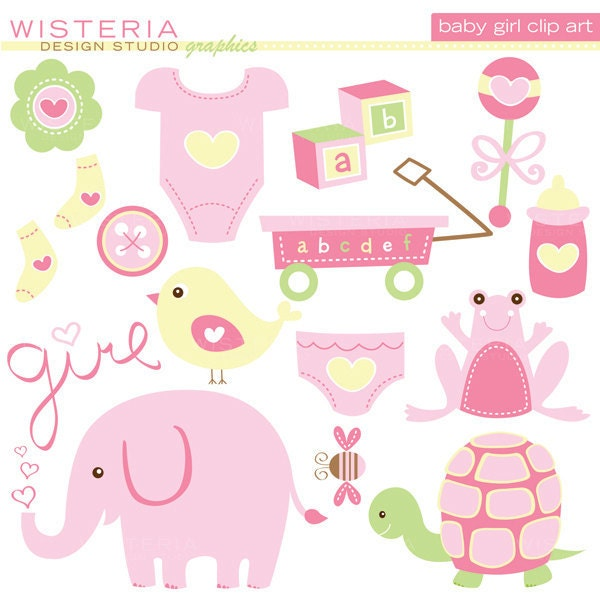 Baby girl elements instant download clip by wisteriadesignstudio