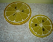 Vintage Lemon Cutting Board or Trivet Set by Gamma Associates Inc 1967