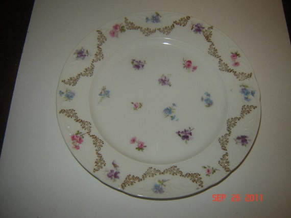 Vintage Decorative Plate with Flowers and Gold Embellishments German