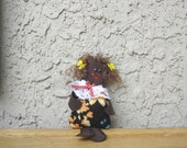 Rag doll Dark skin Small worry doll Handmade doll fabric recycled doll Morena Micro Ecofriendly toy Soft doll unique gift personalized girl