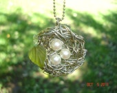 Bird Nest pendant, Nest pendant, Nature pendant, wire nest, wire jewelry