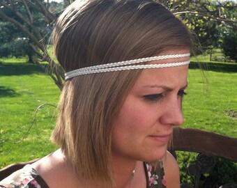 double strand braided headband - Leather- Metallic Pearl