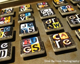 FRIDGE ART MAGNETS Custom 4-Letter Words