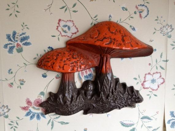Trippy Mushroom Hanging, Vintage Wall Decor / Molded Plastic in Orange