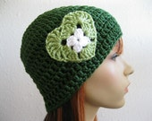 SALE - 40% OFF - Crocheted Beanie Hat Emerald Green Light Green White Heart - Ready to Ship