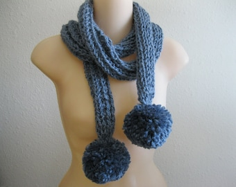 CLEARANCE SALE - Knitted Scarf Soft Chunky Alpaca Denim Blue with Pom Poms - Ready to Ship