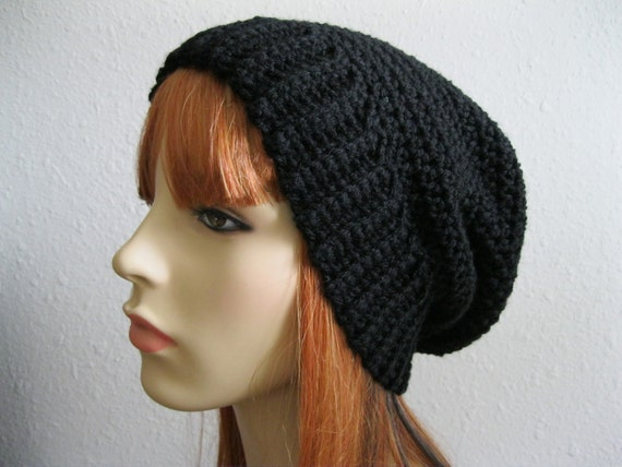 Crocheted Slouchy Beanies Classic LIttle Black Hat Unisex Tam Beret - Ready tp Ship