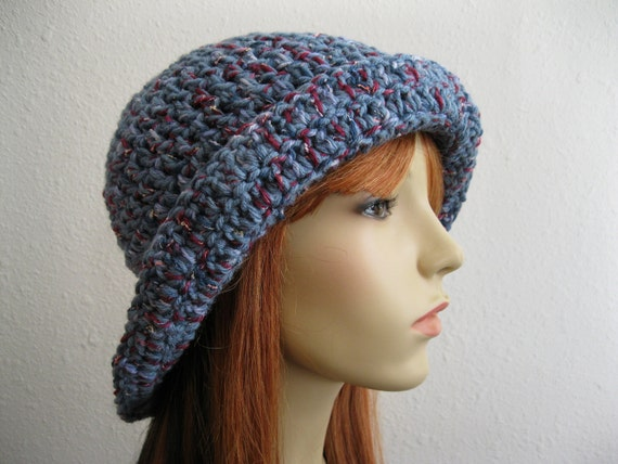 CLEARANCE SALE - 40% OFF - Crocheted Cloche Hat Denim Blue Tweed - Valentine Gift for Her - Ready to Ship