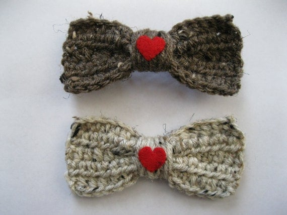 Crochet Hair On Sale : ON SALE 30% OFF - Crocheted Hair Bows Barrettes Oatmeal Brown Tweed ...