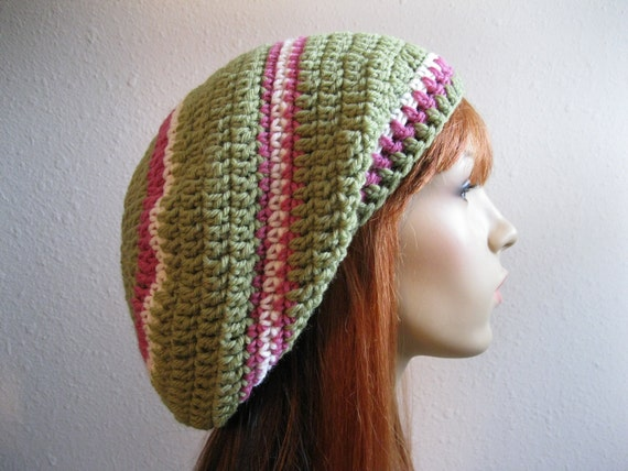 Crocheted Slouchy Beanie Pink and Green Stripes - Ready to Ship