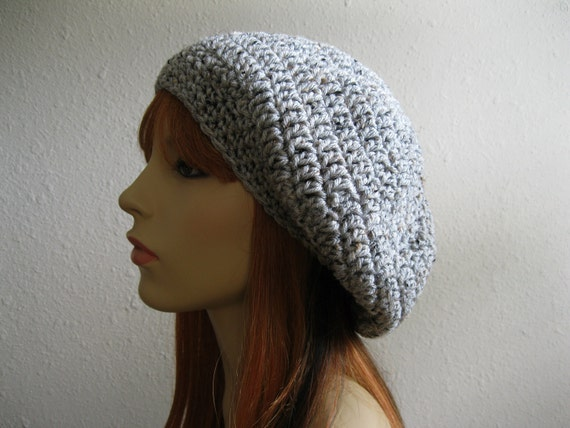 Crocheted Slouchy Beanie Hat Marble Gray - Ready to Ship